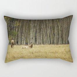 Cow Elk Resting - Grand Tetons Rectangular Pillow