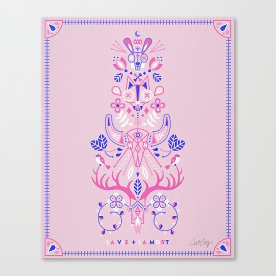La Vie & La Mort – Pink & Periwinkle Canvas Print