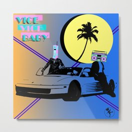 Miami Vice Vice Baby Boombox 80s Graphic Metal Print