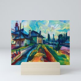 Village in the Countrside, colorful landscape painting by Kmetty János  Mini Art Print
