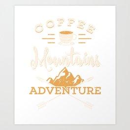 Camping Gift Print Camp Coffee Marshmallows Adventure Print Art Print