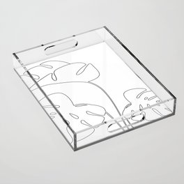 Monstera plant leafs line art Art black and white Acrylic Tray