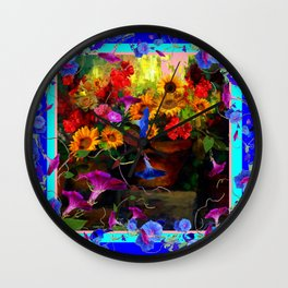 Blue Morning Glories Floral Still life Wall Clock