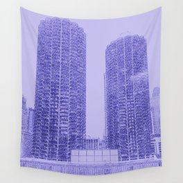 Marina Towers - Chicago - Purple Wall Tapestry