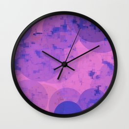 geometric circle and square pattern abstract in pink purple Wall Clock