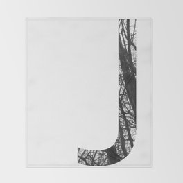 Minimal Letter J Print With Photography Background Throw Blanket