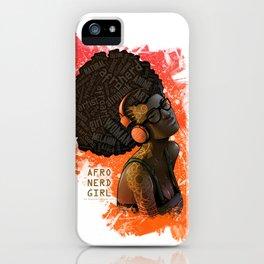 Afro Nerd Girl II (Orange) iPhone Case
