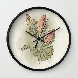 english roses, Spring flowers artwork, rosebud artprint, watercolour flowers Wall Clock