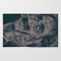 marx Area & Throw Rugs featuring Groucho Marx - Duck Soup Screenplay Print by Robotic Ewe