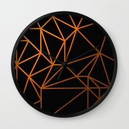 Golden Web - Black And Gold Geometric Design Wall Clock