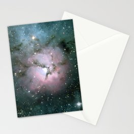 Green and Pink Burst Galaxy Stationery Cards