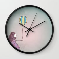 ballon Wall Clocks featuring One Ballon by Jelot Wisang