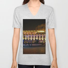 Vietnam Town square Lao Cai Night Cities Building night time Houses Unisex V-Neck