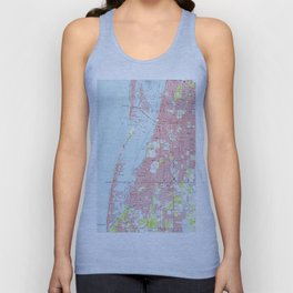 Vintage Map of Clearwater Florida (1974) Unisex Tank Top