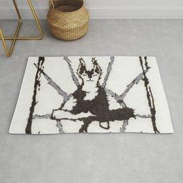 Zen Dog Black and White Meditation Sun Minimalist Graphic Conceptual Art Rug