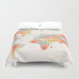 Colorful watercolor world map with cities Duvet Cover