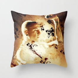 Chester Bennington Poster in vintage style Throw Pillow