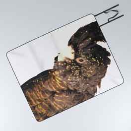 Black cockatoo illustration Picnic Blanket