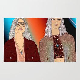 Social Jetlag - Mean Girls Stare, Nice Girls Smile, Digital Art Rug