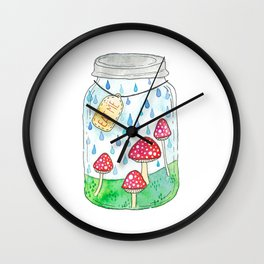 Mushrooms in Mason Jar Wall Clock