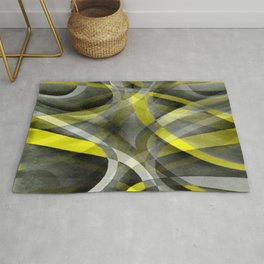 Eighties Vibes Daffodil Yellow and Grey Layered Curve Pattern Rug
