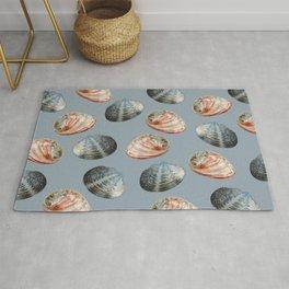 seashell clams grey Background Rug