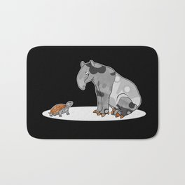 Tapir meets Turtle, Cute Animal Illustration, Black & White with Copper Metallic Accent Funny Turtle Bath Mat