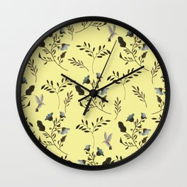 Butter Yellow and Bluebells and Bluebirds Floral Pattern Flowers in Blue and Bark Brown Wall Clock