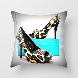 Shoe Lust #2 Leopard Print Throw Pillow