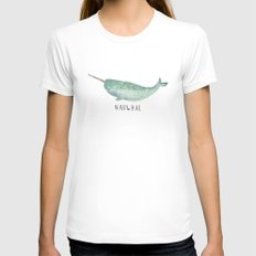 Cute Narwhal White SMALL Womens Fitted Tee