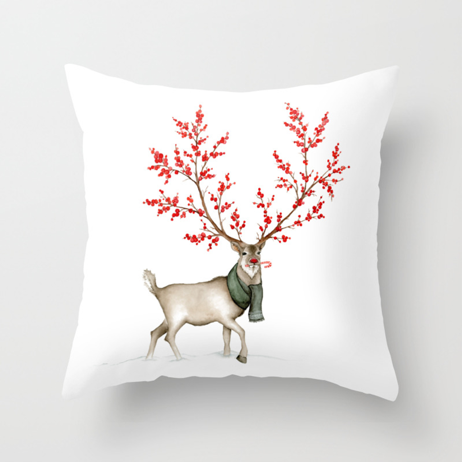Rudolph The Winterberry Antler D Reindeer Throw Pillow By Juliafromscratchdesigns Society6