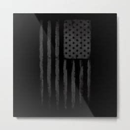 Grey American flag Metal Print
