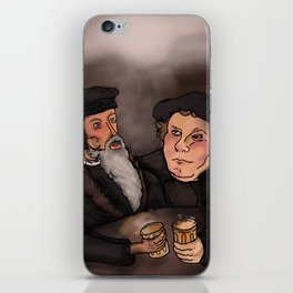 John Calvin and Martin Luther, Pub Theology iPhone Skin
