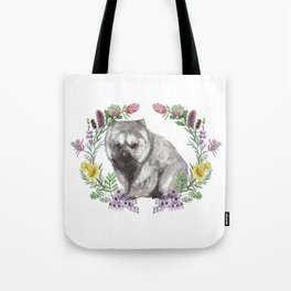 Wombat in Floral Wreath Tote Bag