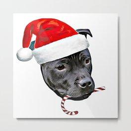 Christmas Staffordshire bull terrier Metal Print