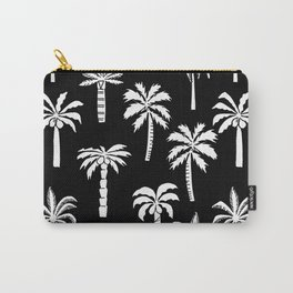 Palm Trees linocut black and white tropical summer art minimalist decor Carry-All Pouch