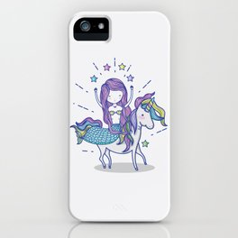 Mermaid Riding Unicorn iPhone Case