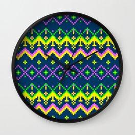 Pixel modern geometric seamless pattern ornament Wall Clock