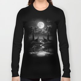XVIII. The Moon Tarot Card Illustration Long Sleeve T-shirt