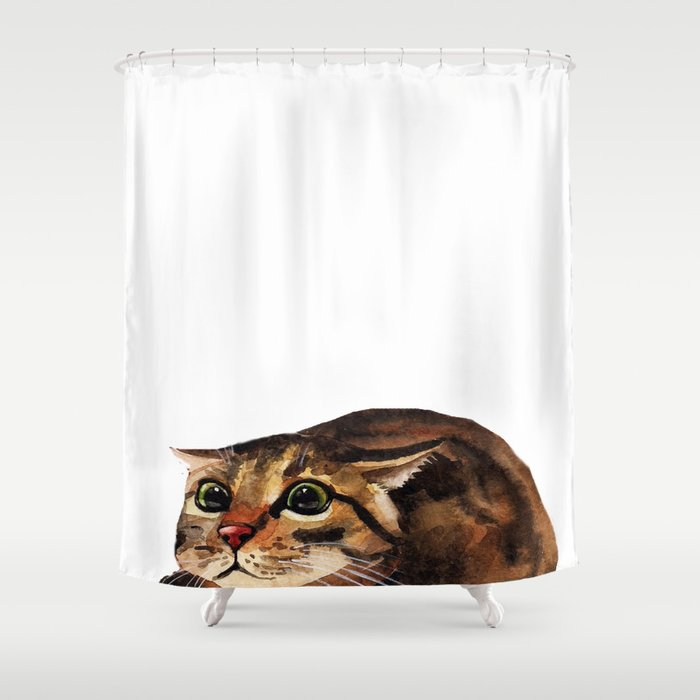 Funny Cat Shower Curtain By Huntleigh