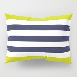 Modern Classy Navy Blue Lime Green STRIPES Pillow Sham