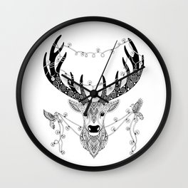 Reindeer with birds for christmas Wall Clock