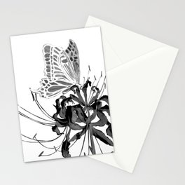 Spider Lily and Butterfly II (mirrored & inverse colour version) Stationery Cards