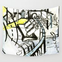 industrial Wall Tapestries featuring Industrial Landscape by seb mcnulty