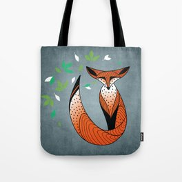 Dame Renard - Grey background with leaves Tote Bag