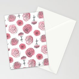 Pink Carnation Pattern Stationery Cards