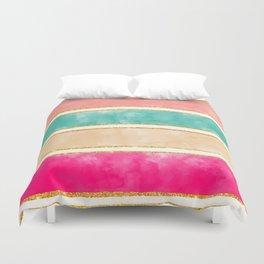 Modern Stripes Pink Red Watercolor Gold Glitter Duvet Cover