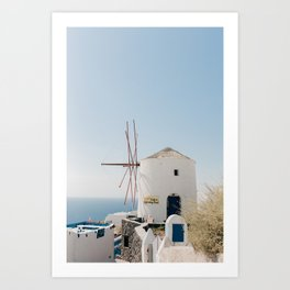 Santorini 0019: Mill in Oia, Santorini, Greece Art Print