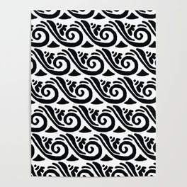 Whimsical black white abstract geometrical floral Poster