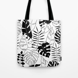 black and white tropical minimal leaves poster Tote Bag